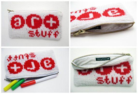 Knitted pencil-case ''ART stuff''. $10.00, via Etsy.