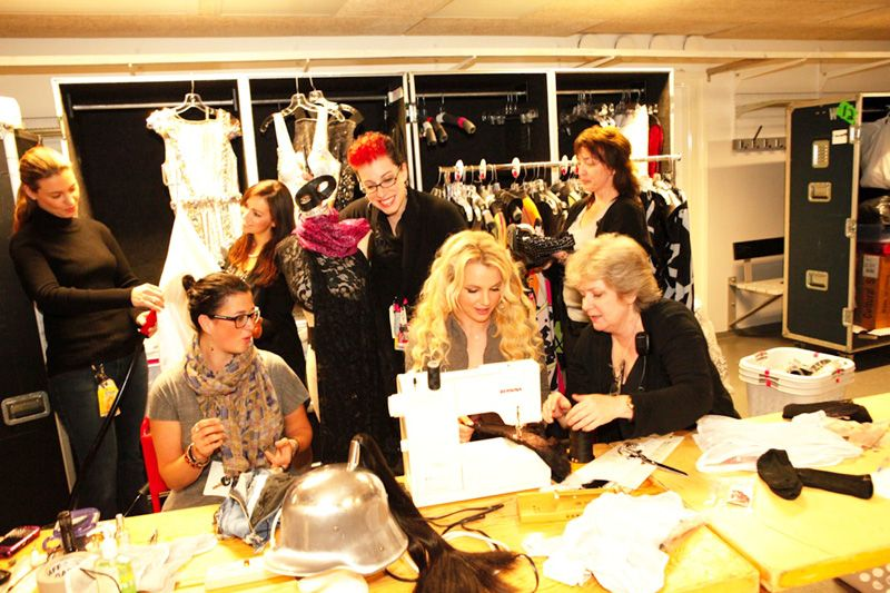 Britney Spears gets a sewing lesson in Europe on a #BERNINA sewing machine!