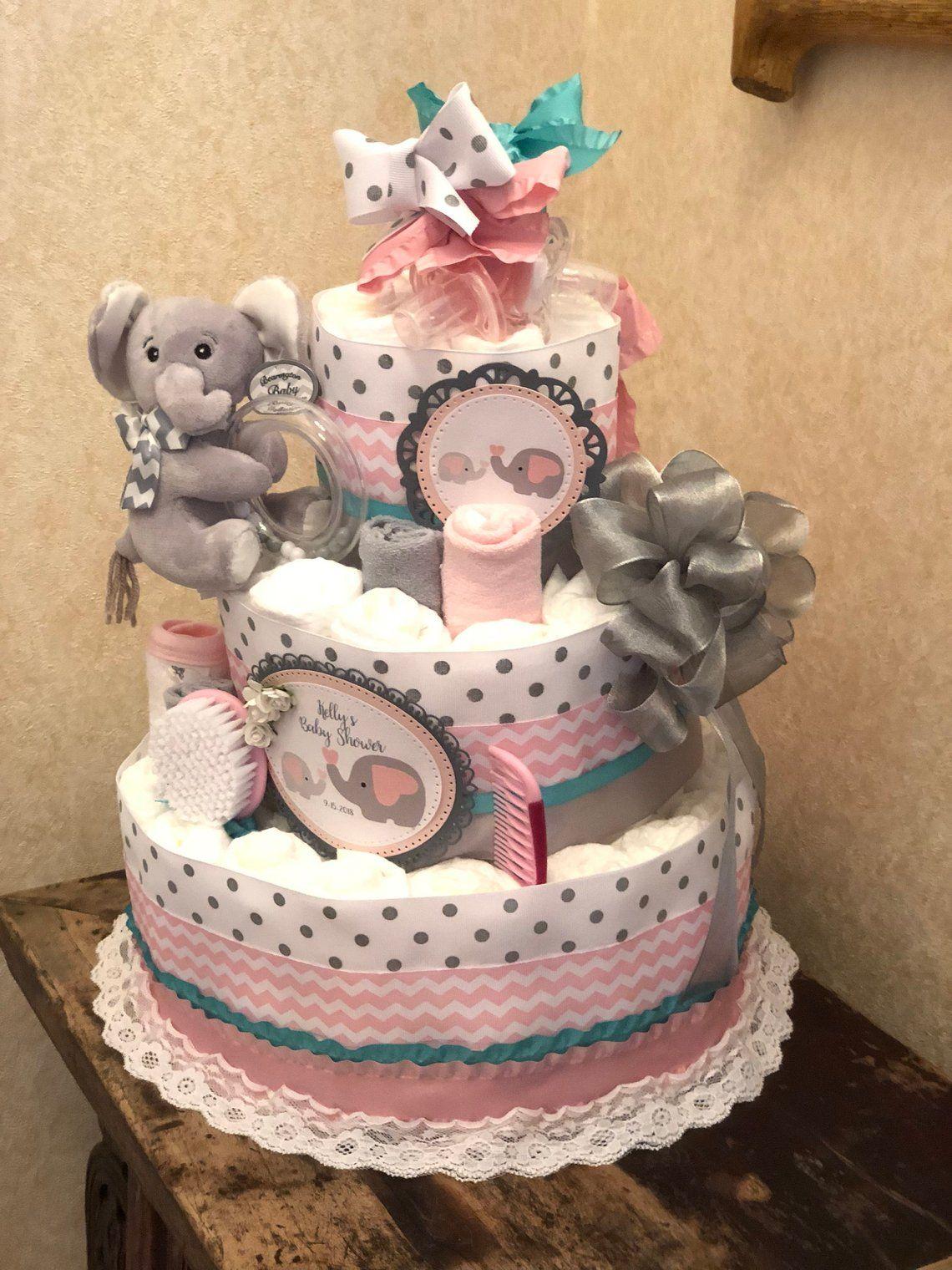 4 Tier Pink Elephant Diaper Cake For Baby Girl Diaper Cake