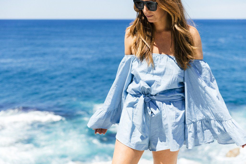 CHAMBRAY WIDE SLEEVE ROMPER