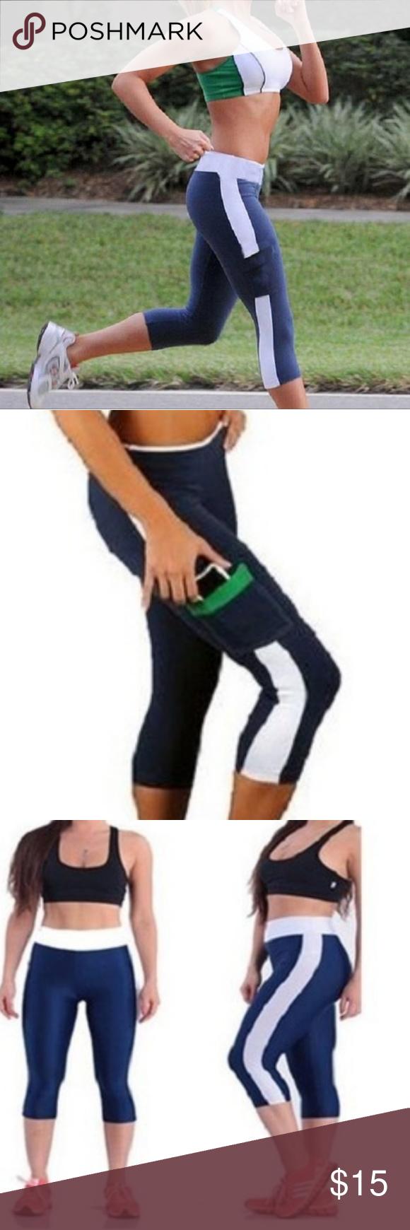 73b256f5ddff5 Yoga Running Cropped Leggins w/ Side Locket. ??Women Elastic Yoga ...