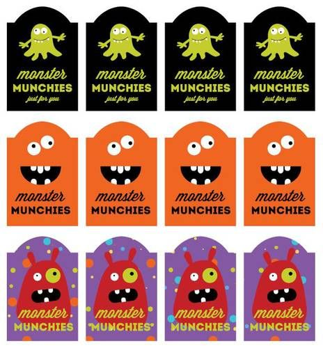 Monster Munchies Printable Labels For Halloween Treats