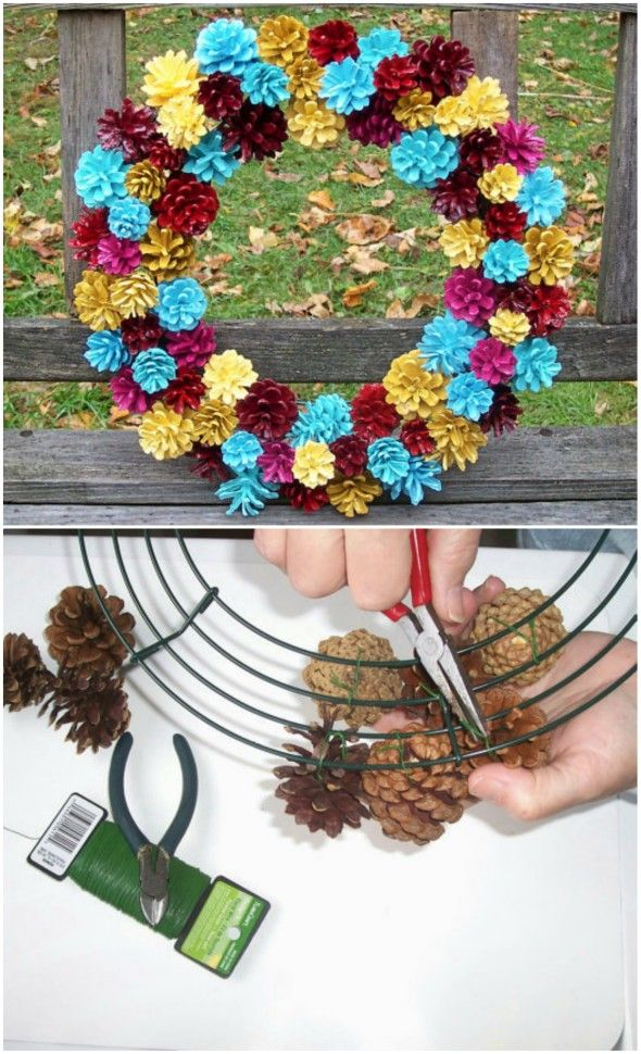 How To Turn Pine Cones Into Lovely Zinnia Flowers   The WHOot is part of Pine cone flower wreath - This Pine Cone Flowers Craft is an easy diy and you are going to love the gorgeous results  Turn your Pine Cones Upside Down and they turn into Zinnias
