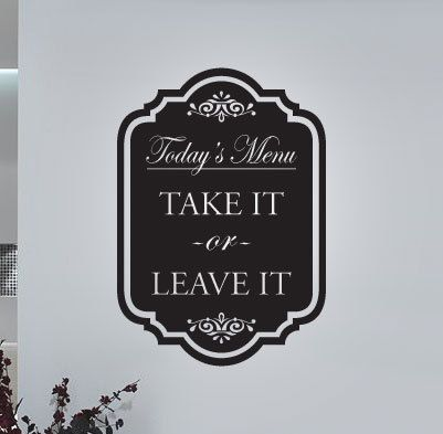 Today's Menu  Vinyl Wall Quote Decal by 7decals on Etsy, $19.99