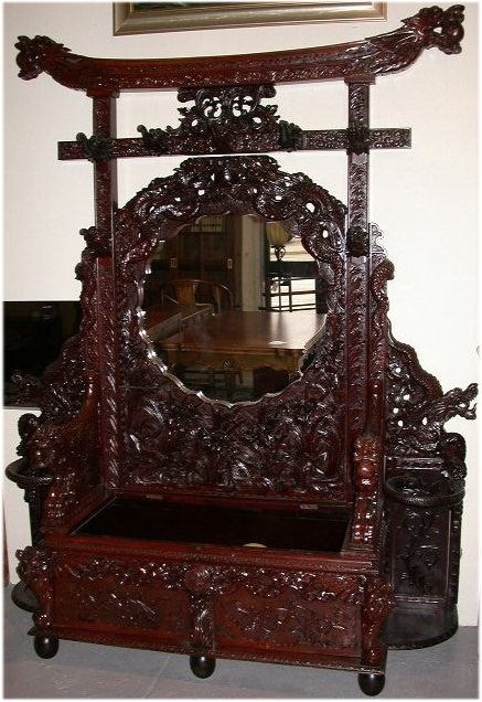 An extremely rare antique Japanese hall stand with intricately carvings of  dragons, elephants and lily - An Extremely Rare Antique Japanese Hall Stand With Intricately