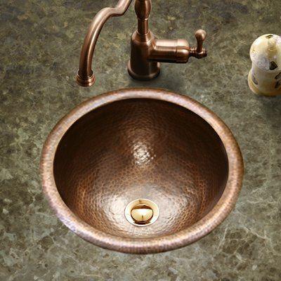 Houzer Hammerwerks Metal Circular Drop In Bathroom Sink With