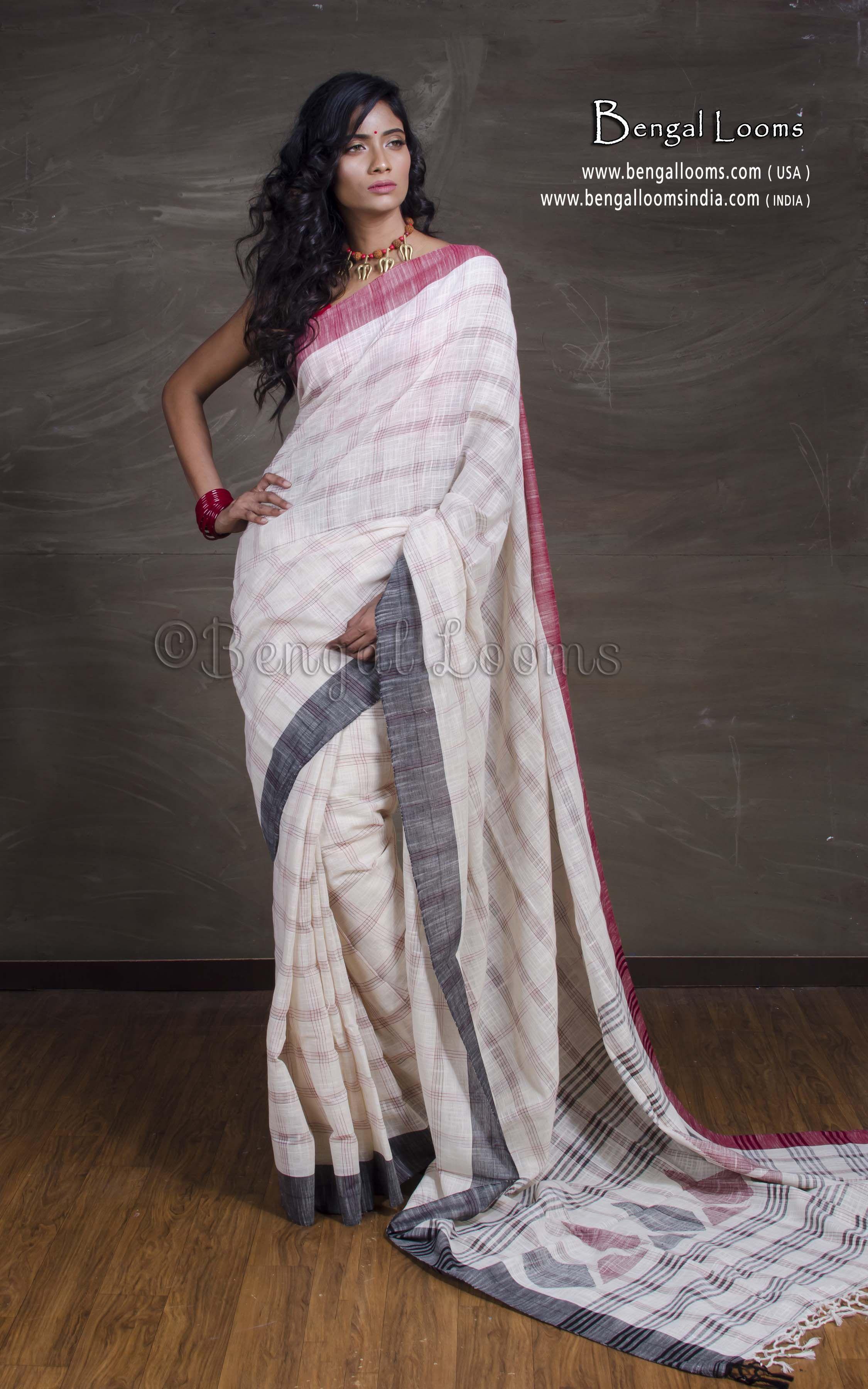 Pure khadi cotton saree with ikat stiped bordersSingaara Saree Ships from USA