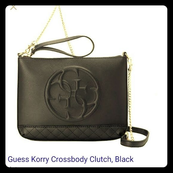 Guess Korry Crossbody Clutch Black leather crossbody clutch. Great conditioned and holds everything a woman needs for a night in the town. Guess Bags Crossbody Bags