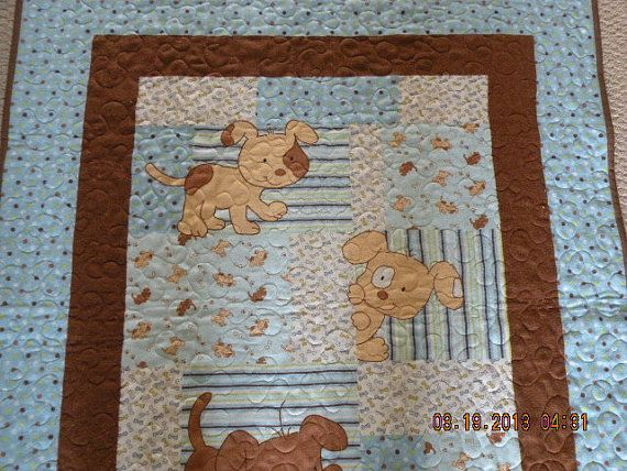 Puppy Baby Quilt Crib Nursery Contact Owner To See If Other Pieces Could Be Made Or Material Ordered Dog Quilts Baby Quilts Puppy Nursery