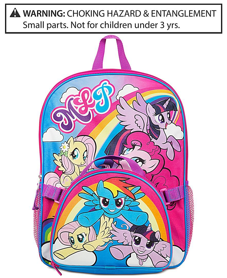 """My Little Pony Purple /& Pink Canvas 16/"""" School Rolling Backpack Luggage"""