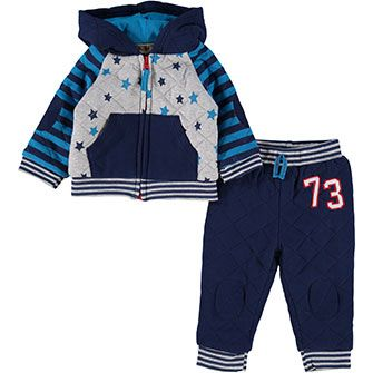 Hooded Blue Two Piece Outfit Set