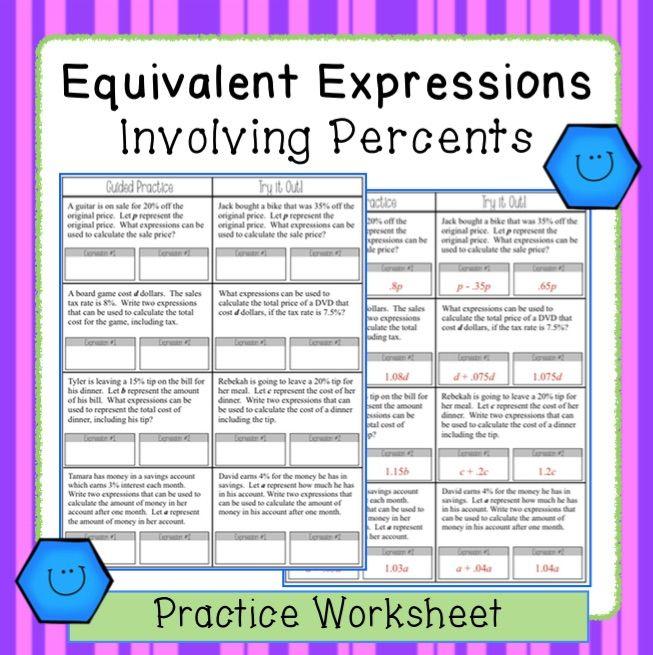 Worksheet Equivalent Algebraic Expressions With Percent Problems 7 Ee 2 Algebraic Expressions Equivalent Expressions 7th Grade Math Equivalent expressions worksheet 7th grade