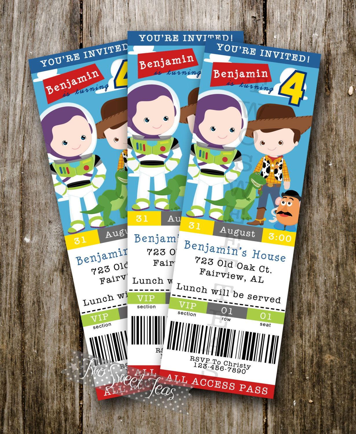 TICKET STYLE Toy Story inspired Invitation Birthday by 2SweetTeas ...