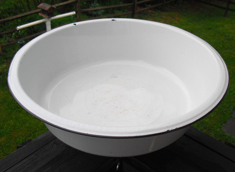 Vintage White Enamelware Wash Tub, Country Laundry Tub, Farm Basin ...