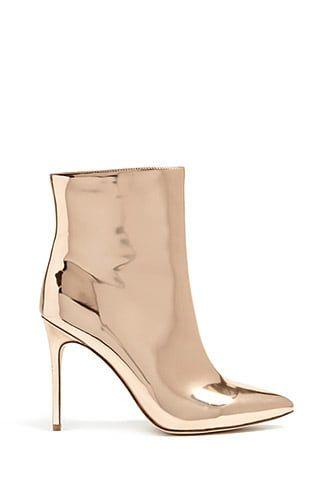 14c9214d03b Faux Patent Metallic Ankle Boots