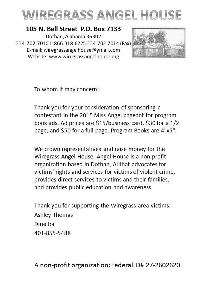 program book ad sponsorship letter