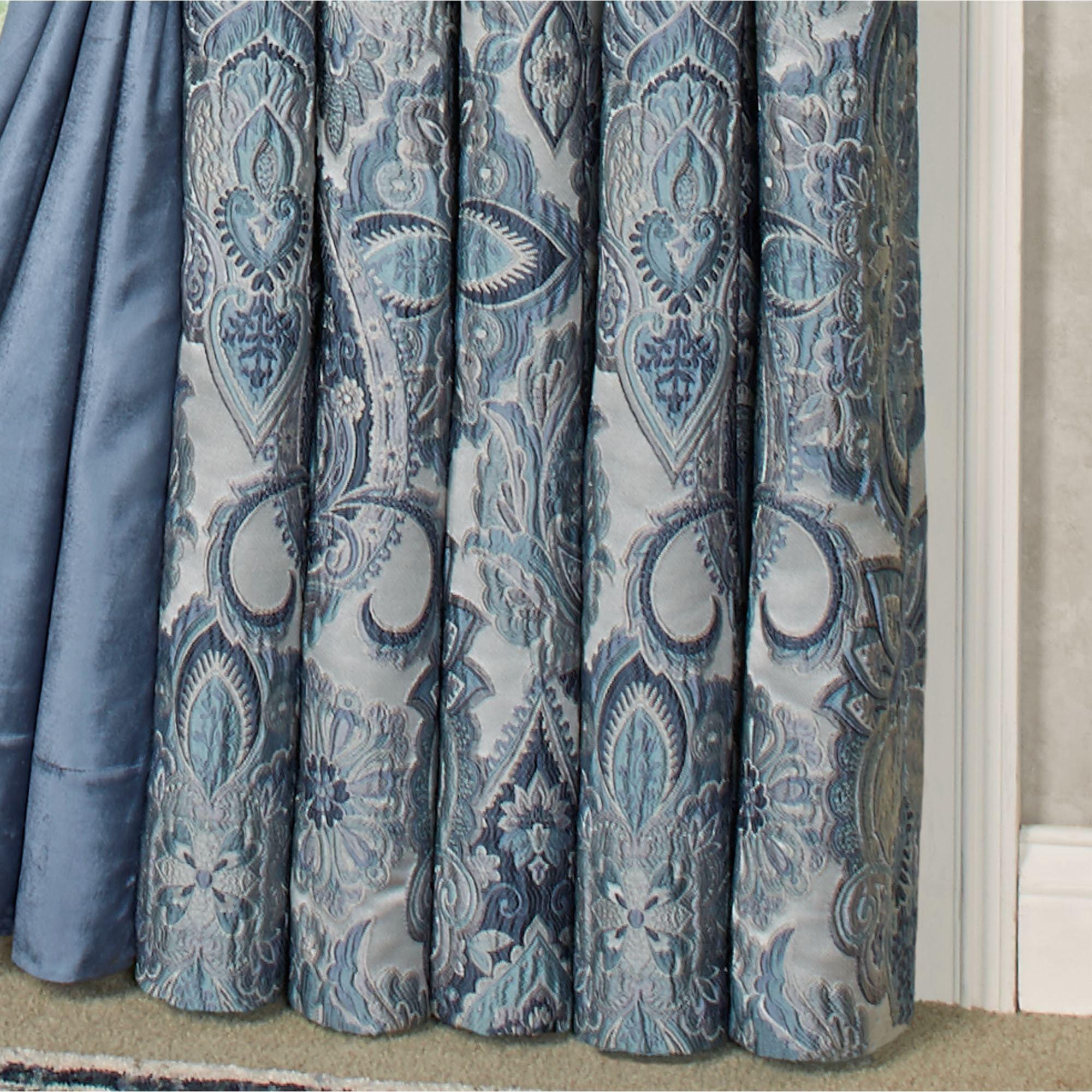 Arabelle Jacobean Damask Blue Comforter Bedding Luxury Curtains Damask Curtains Blue Comforter Sets