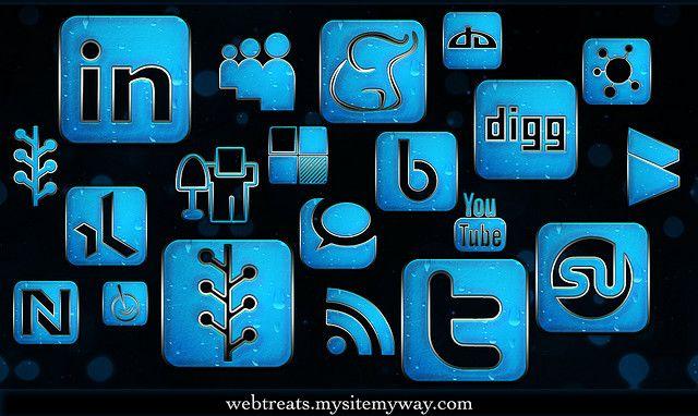 154 Blue Chrome Rain Social Media Icons by webtreats, via Flickr