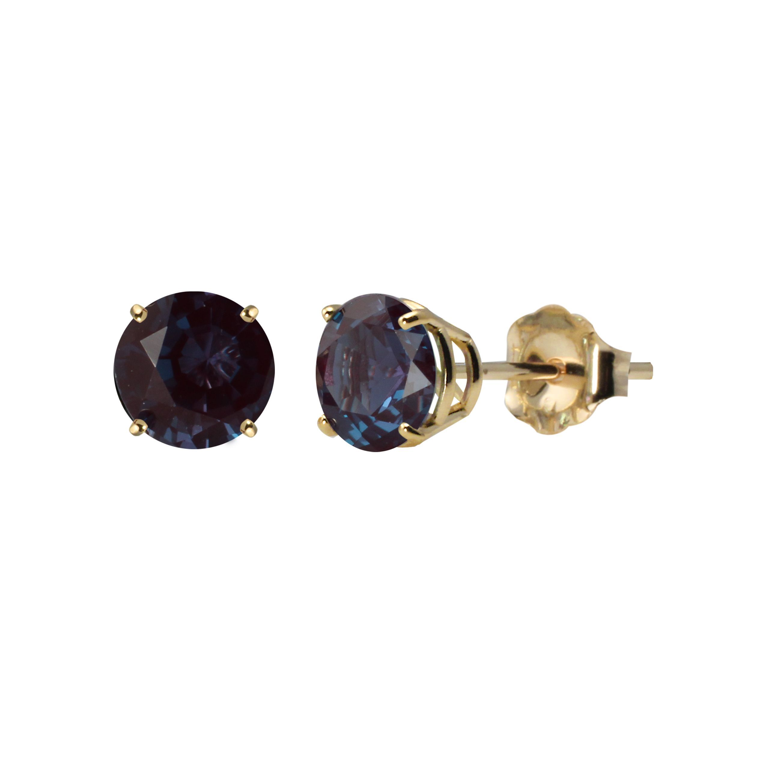 earrings alexandrite cut natural yellow gold round stud ruby solid