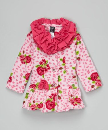 Another great find on #zulily! Pink Rose Ruffle-Collar Bubble Coat - Infant, Toddler & Girls #zulilyfinds