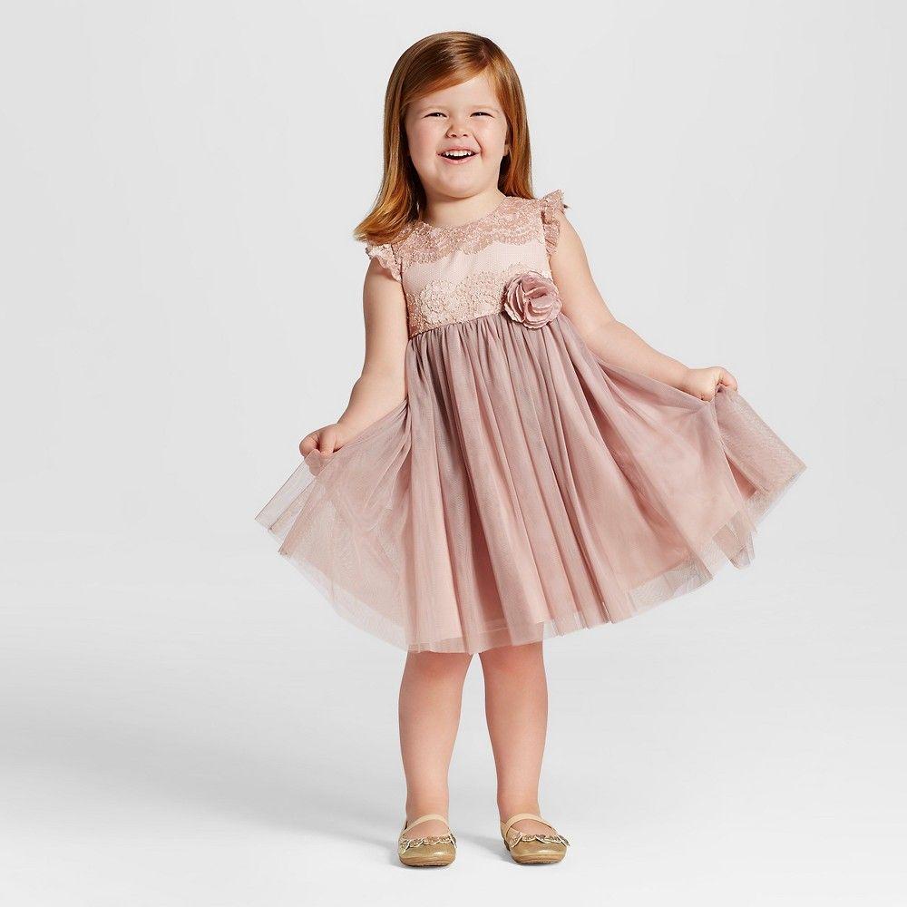 Toddler Girls\' Ruffle Cap Sleeve Flower Girl Dress Tevolio - Mauve ...