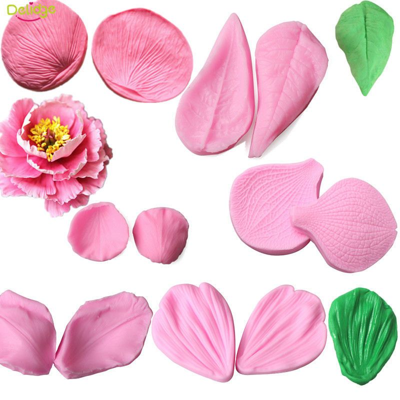 Flower Petal Leaf Silicone Fondant Mold Cake Decor Sugarcraft Baking Mould Tools