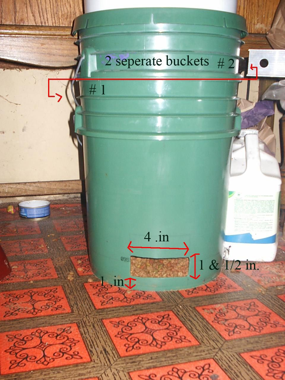 Gravity Auto Cat Feeder From 2 5 Gallon Buckets Auto Cat Feeder Cat Feeder Cat Feeder Diy