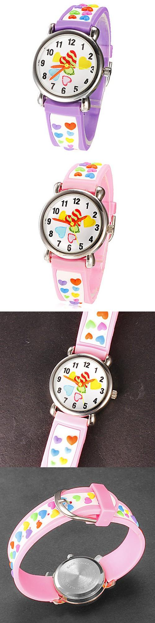 Children Silicone Wristwatches hearts Fashion Casual Reloj Waterproof Kid Watches Brand Quartz Wrist Watch Baby For Girls Boys