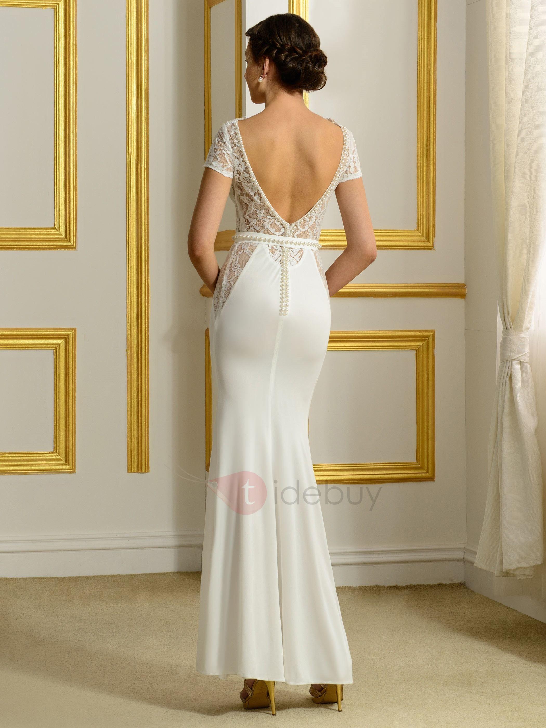 Sexy v neck backless sheath wedding dress wedding dress wedding