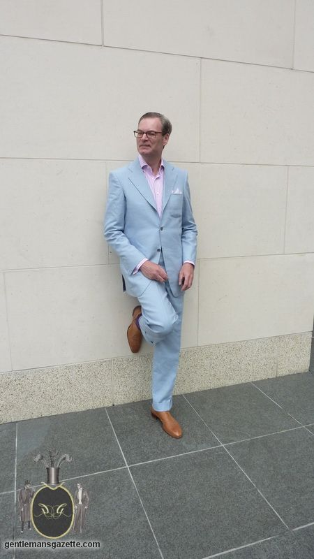 Bespoke Light Blue Suit Tan Shoes Suits Blue Linen Suit Suits