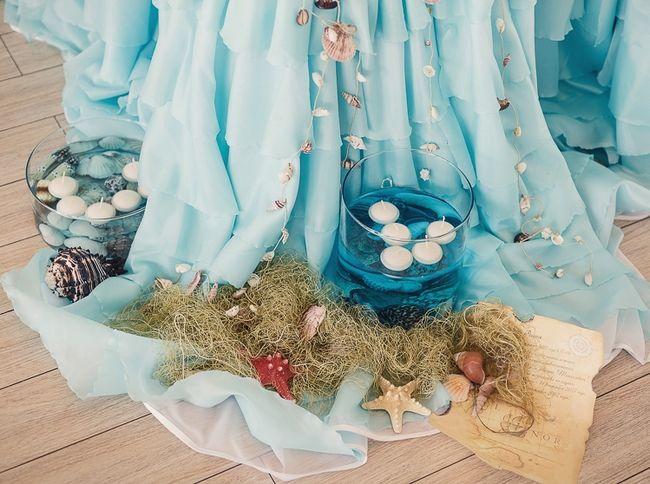 Beach Themed Wedding Reception Decoration Ideas Part - 39: Beach-themed-wedding-decor-reception-tablecloth-organza-floating-