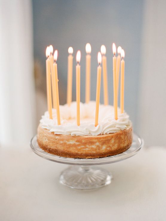 Elegant Birthday Cake With Tall Slim Candles