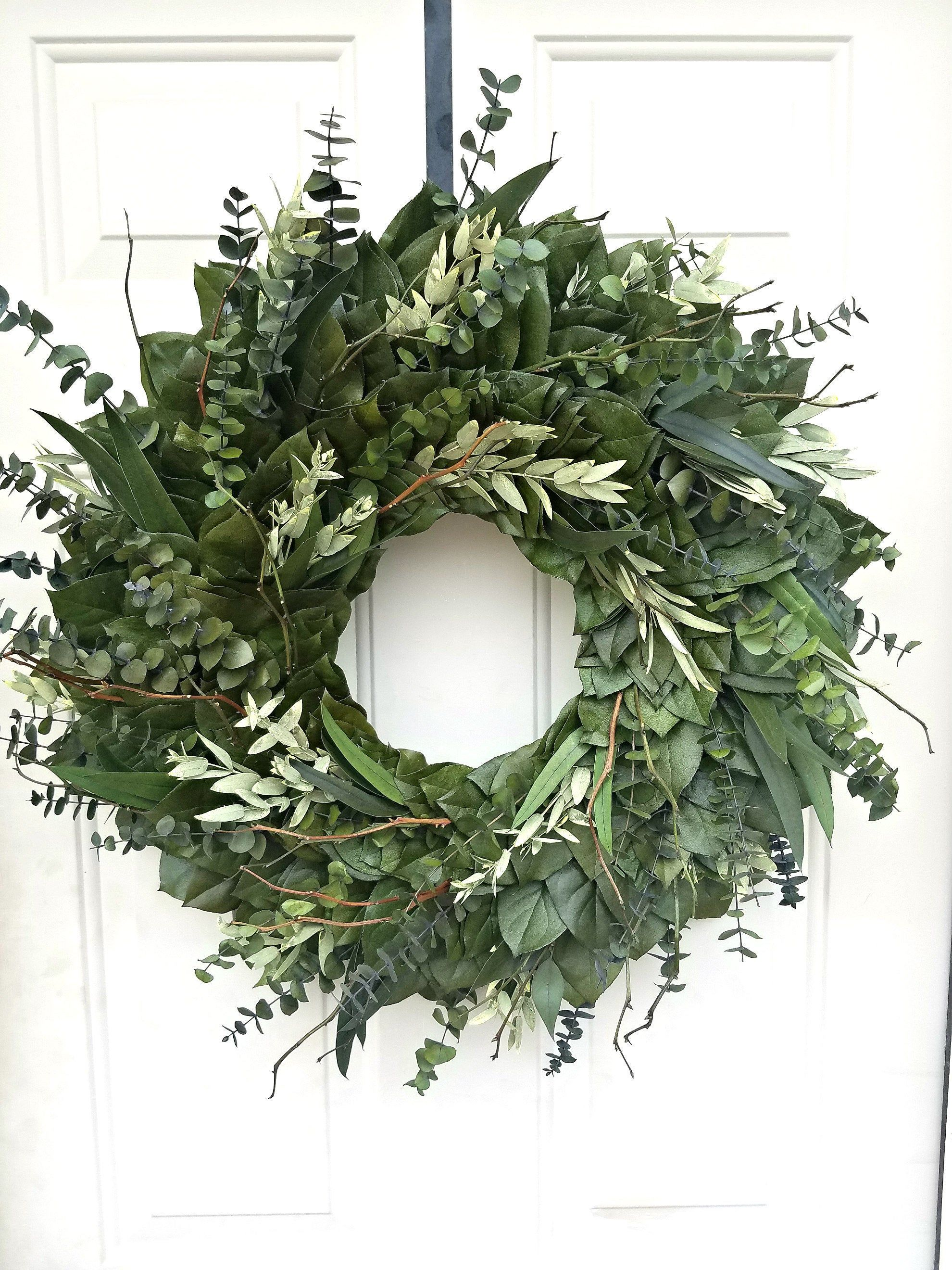 Farmhouse Preserved Leaf Wreath Made With All Natural Materials Preserved To Last Several Seasons Https Etsy Natural Wreath Indoor Wreath Farmhouse Wreath
