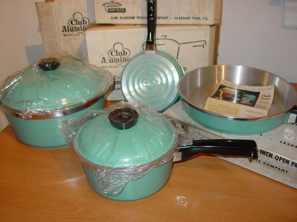 Vintage Club Turquoise Aluminum Saucepan Sauce Stock Pot Pan Dutch