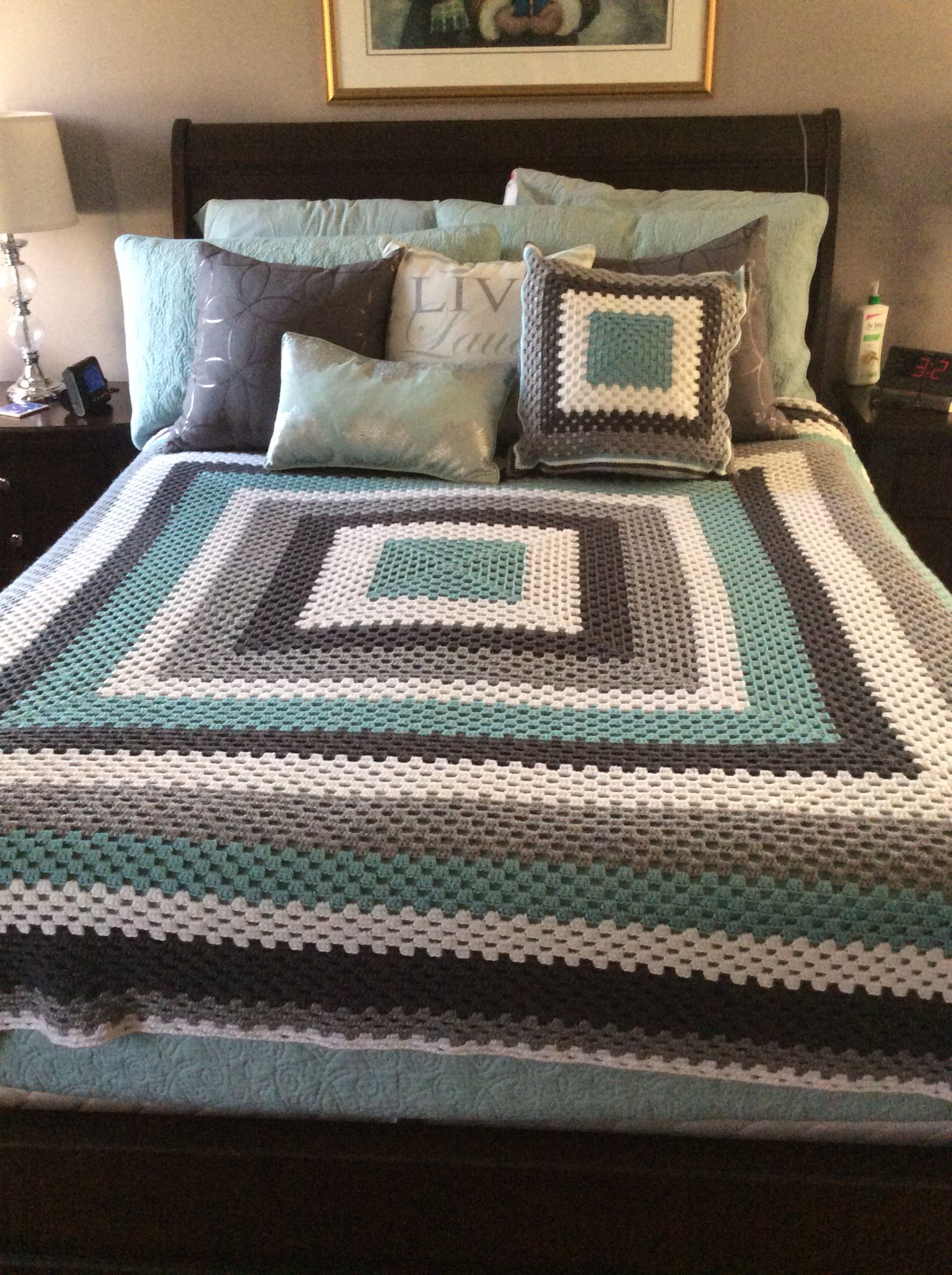 Crochet giant granny square blanket and cushion, teal grey and white ...