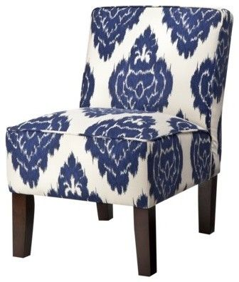 Armless Upholstered Slipper Chair, Abstract Blue Floral   Contemporary    Chairs   Target