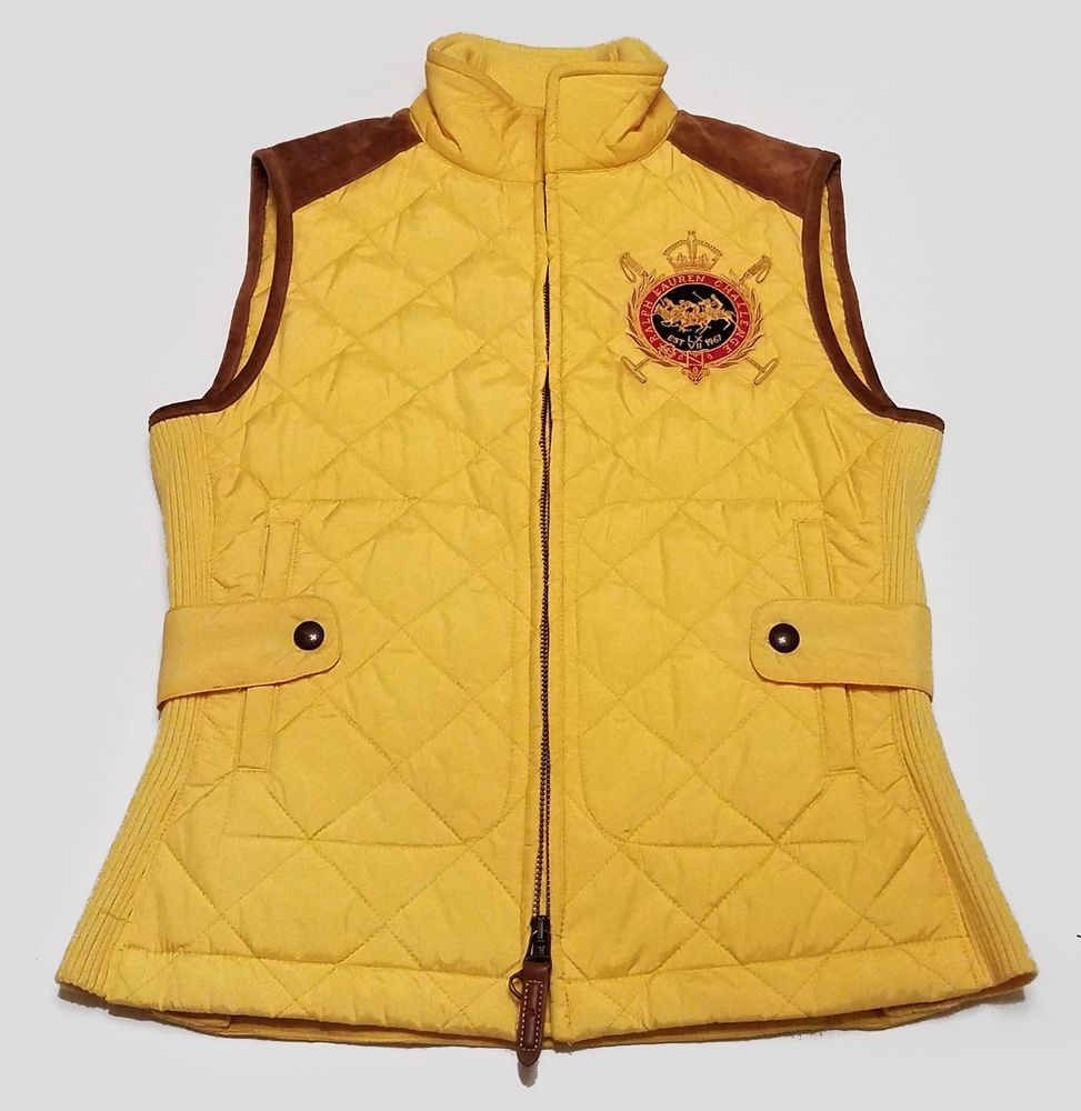Vest Lauren Womens Size Yellow Ralph Crest Quilted Sport Equestrian 8nwN0OXZPk