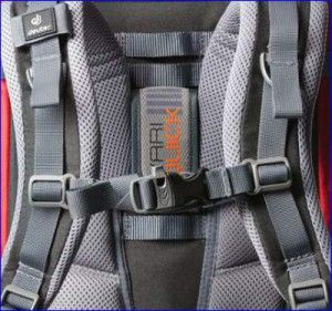 Details of the harness and emergency whistle. Vari Quick torso adjustment is visible.