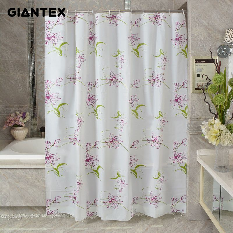 GIANTEX Purple Lily PEVA Bathroom Waterproof Shower Curtains With ...