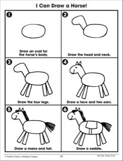 Draw a Horse: Following Directions (Practice Page) | Drawing lessons for kids, Art drawings for kids, Kindergarten drawing