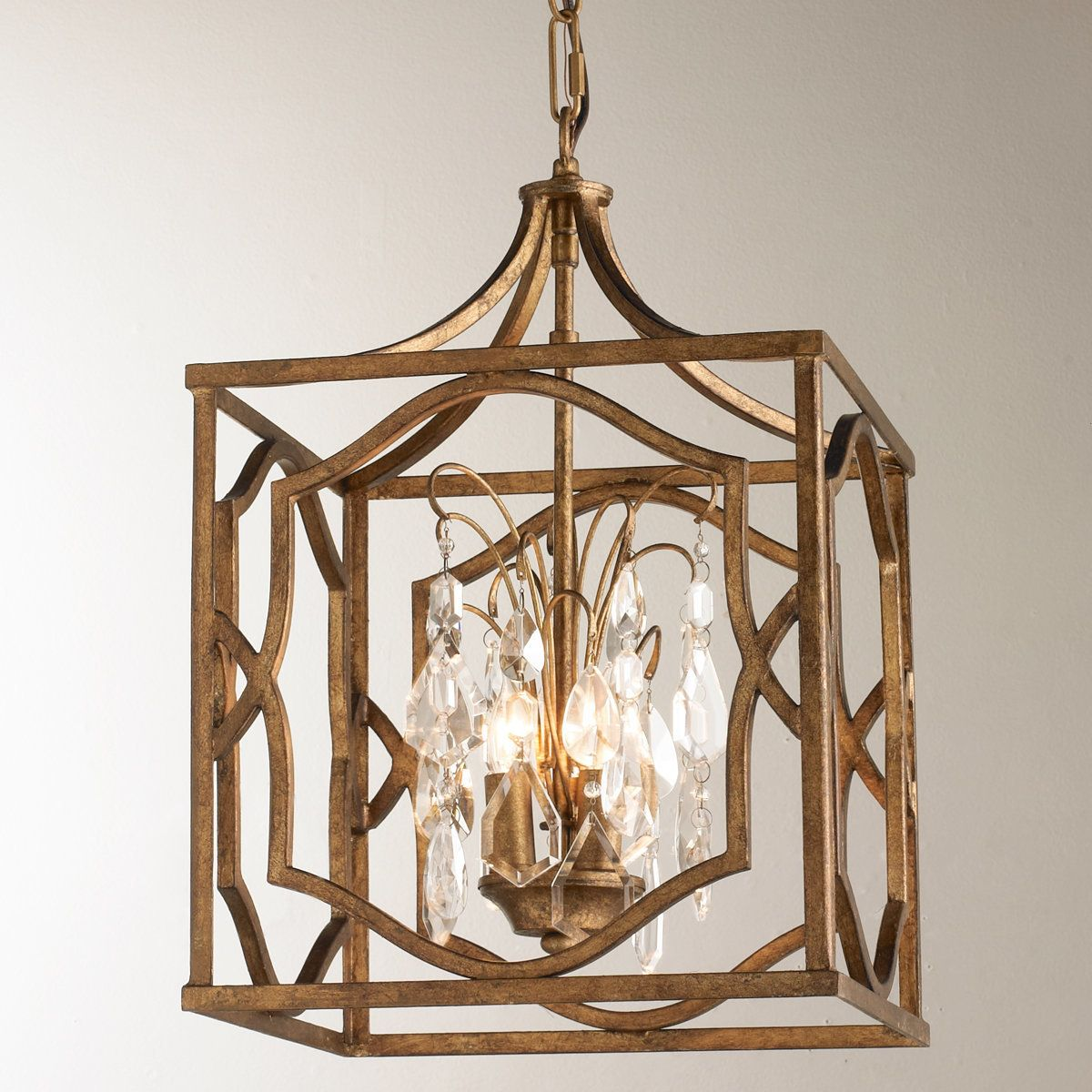 Small modern fretwork frame lantern with crystals antique gold