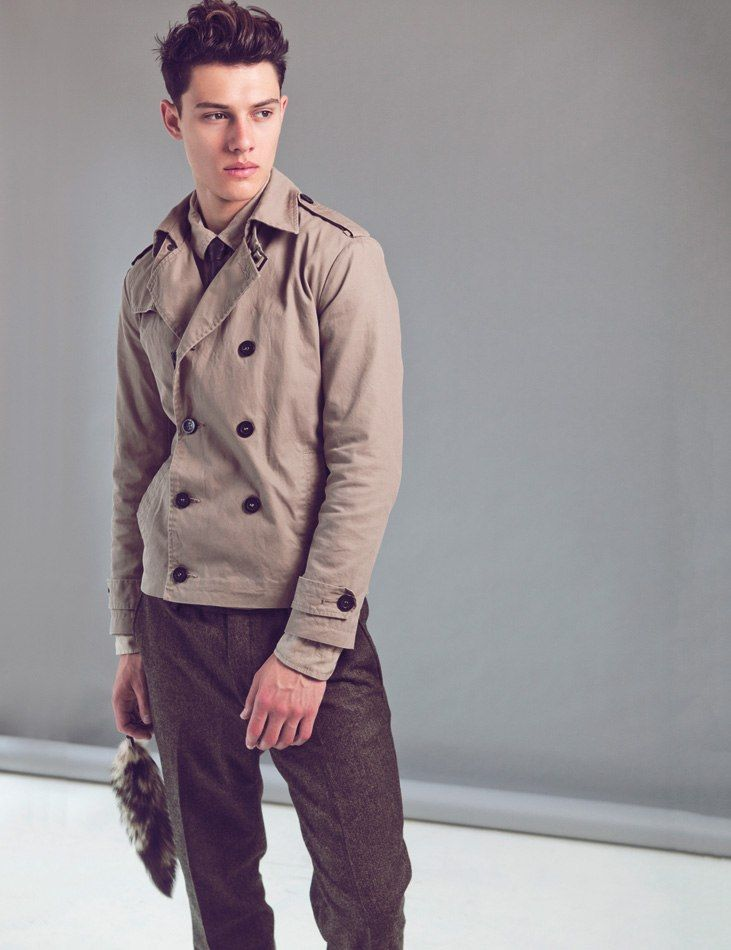 603cb20e6baccf Short Trench coat - Model  Jordan Goodenough at Models 1 London ...