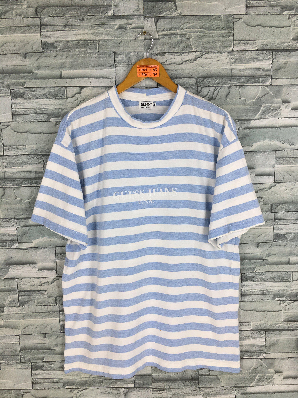 b56473761cc608 Vintage GUESS JEANS Usa Stripes Tshirt Large 1990's Sportswear Border  Stripes Blue/White Guess Skateboarding Rocky Skater Tshirt Size L by ...
