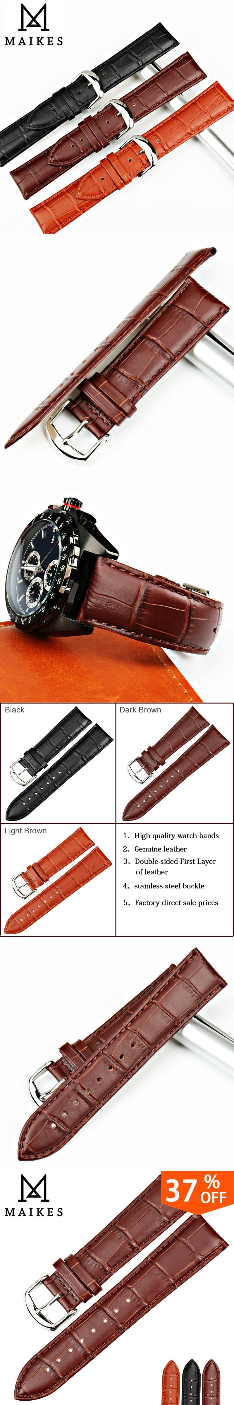 7399545fb21 MAIKES New Design Watch Accessories Genuine Cow Leather Watch Strap 16 18  20 22 24mm Brown