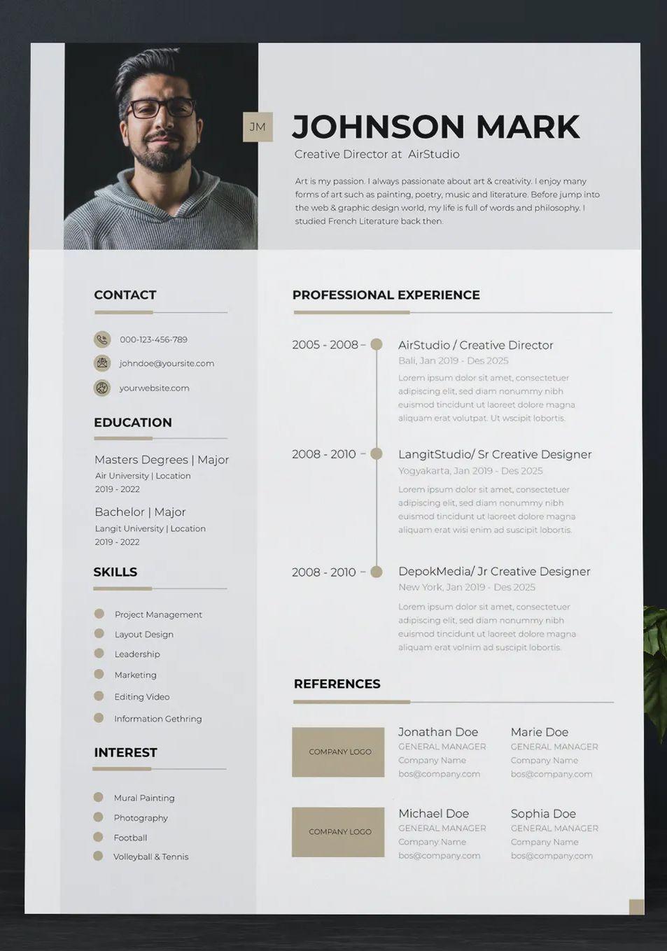 Clean Cv Resume Template Vector Resume Design Resume Template Cv Resume Template