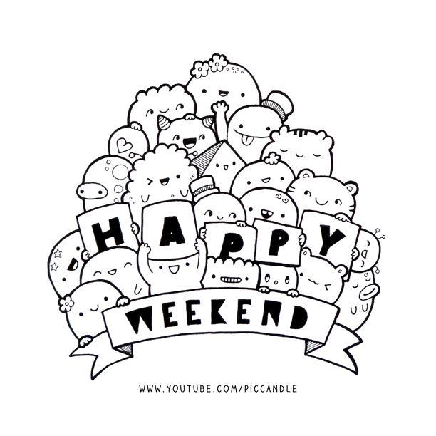 Happy Weekend Seni Doodle Buku Mewarnai Dan Sketsa