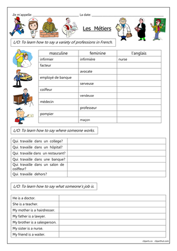 french jobs les m tiers worksheets learn french