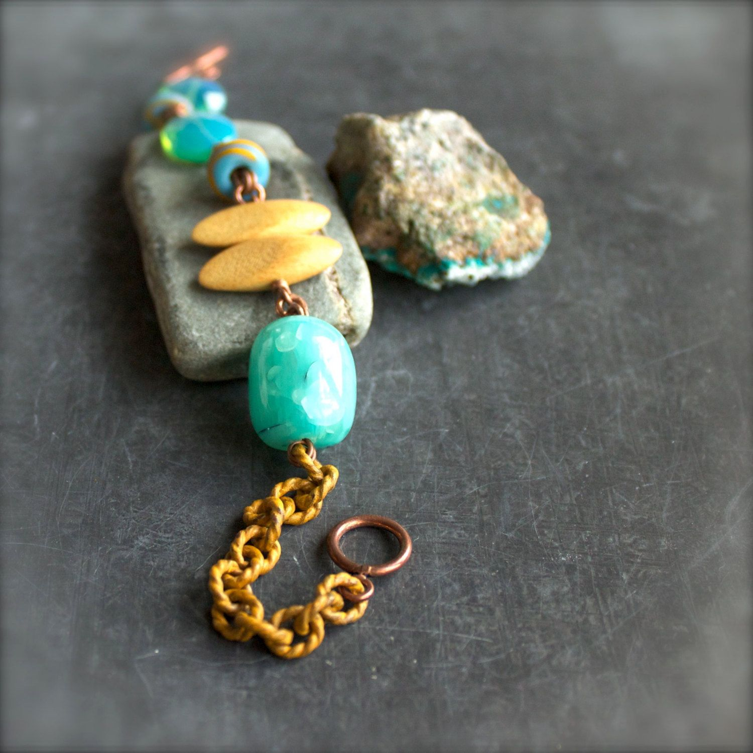Turquoise Mustard Yellow Beadwork Chain Bracelet Wood Patina Beaded Tropical Summer Jewelry by balanced on Etsy https://www.etsy.com/listing/125383899/turquoise-mustard-yellow-beadwork-chain