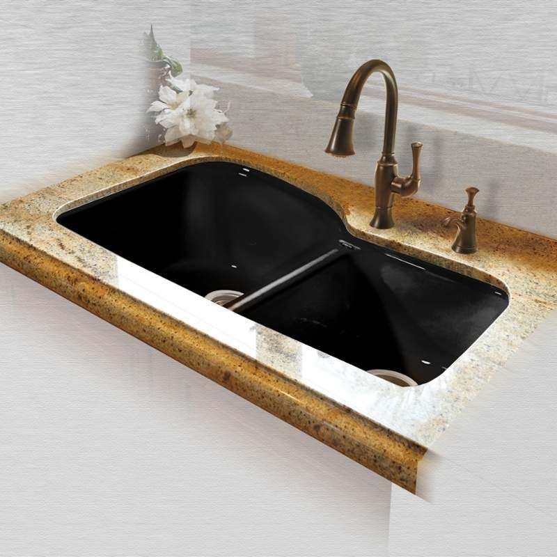 """Cast Iron Undermount Kitchen Sinks miseno mci68-4um 33"""" double basin undermount cast iron kitchen"""