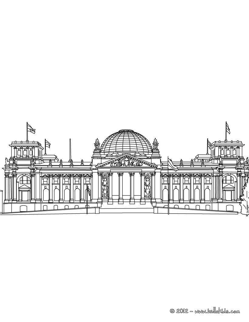 REICHTAG building in Berlin coloring page | House Coloring Pages ...
